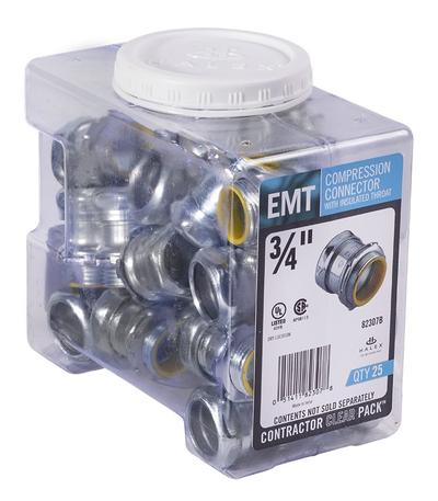 EMT STEEL COMPRESSION CONNECTOR W/INSULATED THROAT